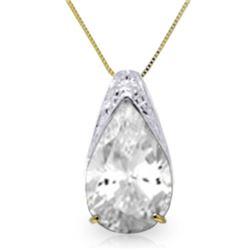 Genuine 5 ctw White Topaz Necklace Jewelry 14KT Yellow Gold - REF-27X2M