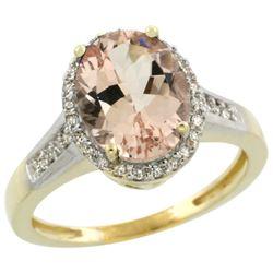 Natural 2.49 ctw Morganite & Diamond Engagement Ring 14K Yellow Gold - REF-66G2M