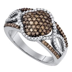 0.68 CTW Cognac-brown Color Diamond Quadrefoil Cluster Ring 10KT White Gold - REF-44Y9X