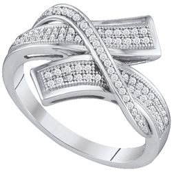 0.25 CTW Pave-set Diamond Crossover Bypass Ring 10KT White Gold - REF-30X2Y