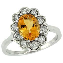 Natural 2.34 ctw Citrine & Diamond Engagement Ring 14K White Gold - REF-81W4K