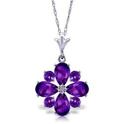 Genuine 2.43 ctw Amethyst Necklace Jewelry 14KT White Gold - REF-29H7X