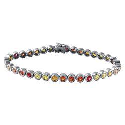 6.17 CTW Multi-Color Sapphire Bracelet 14K White Gold - REF-117K8W