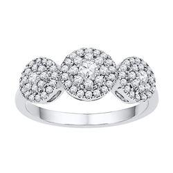 0.50 CTW Diamond Triple Cluster Fashion Ring 10KT White Gold - REF-46X4Y