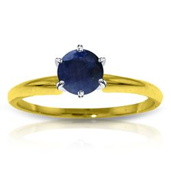 Genuine 0.65 ctw Sapphire Ring Jewelry 14KT Yellow Gold - REF-28H5X