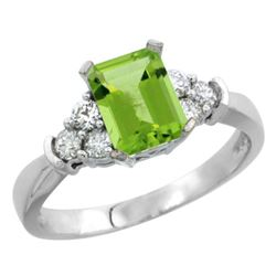 Natural 1.48 ctw peridot & Diamond Engagement Ring 10K White Gold - REF-43V2F