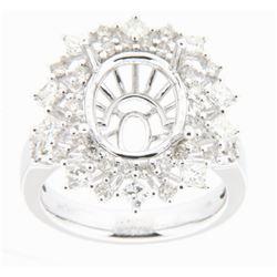 1.47 CTW Diamond Semi Mount Ring 18K White Gold - REF-143W6H