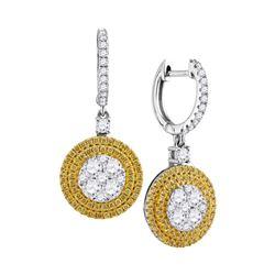 1.6 CTW Yellow Diamond Circle Cluster Dangle Earrings 18KT White Gold - REF-262M4H