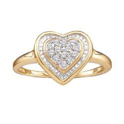 0.11 CTW Diamond Heart Ring 14KT Yellow Gold - REF-14F9N