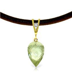 Genuine 9.51 ctw Green Amethyst & Diamond Necklace Jewelry 14KT Yellow Gold - REF-38K5V