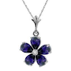 Genuine 2.22 ctw Sapphire & Diamond Necklace Jewelry 14KT White Gold - REF-36F3Z