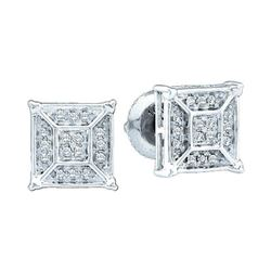 0.10 CTW Diamond Square Geometric Cluster Earrings 10KT White Gold - REF-16Y4X