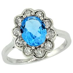 Natural 2.34 ctw Swiss-blue-topaz & Diamond Engagement Ring 10K White Gold - REF-69G8M