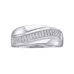 0.15 CTW Diamond Contour Row Ring 14KT White Gold - REF-20K9W