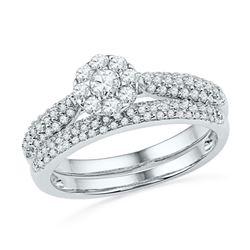 0.63 CTW Diamond Cluster Bridal Engagement Ring 10KT White Gold - REF-49M5H