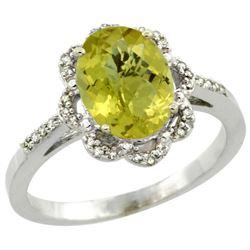 Natural 1.85 ctw Lemon-quartz & Diamond Engagement Ring 10K White Gold - REF-28V4F
