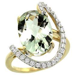Natural 5.89 ctw Green-amethyst & Diamond Engagement Ring 14K Yellow Gold - REF-91N4G