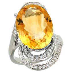 Natural 11.2 ctw citrine & Diamond Engagement Ring 14K White Gold - REF-95K8R