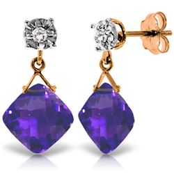 Genuine 17.56 ctw Amethyst & Diamond Earrings Jewelry 14KT Rose Gold - REF-48M3T