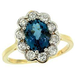 Natural 2.34 ctw London-blue-topaz & Diamond Engagement Ring 14K Yellow Gold - REF-82K2R