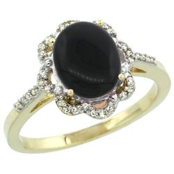 Natural 1.89 ctw Onyx & Diamond Engagement Ring 14K Yellow Gold - REF-36V7F