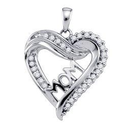0.21 CTW Diamond Mom Mother Heart Outline Pendant 10KT White Gold - REF-19H4M