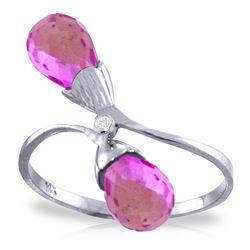 Genuine 2.52 ctw Pink Topaz & Diamond Ring Jewelry 14KT White Gold - REF-26Z6N