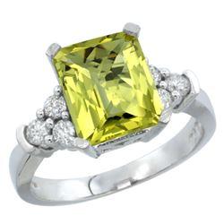 Natural 2.86 ctw lemon-quartz & Diamond Engagement Ring 14K White Gold - REF-64K7R