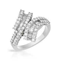 1.15 CTW Diamond Ring 18K White Gold - REF-120W4H