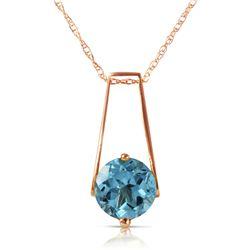 Genuine 1.45 ctw Blue Topaz Necklace Jewelry 14KT Rose Gold - REF-23Y8F