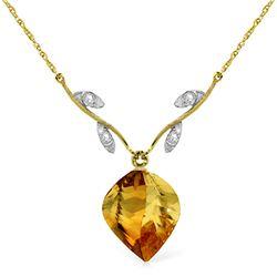 Genuine 11.77 ctw Citrine & Diamond Necklace Jewelry 14KT Yellow Gold - REF-41N4R