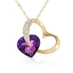 Genuine 3.2 ctw Amethyst & Diamond Necklace Jewelry 14KT Yellow Gold - REF-49F6Z