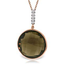 Genuine 17.08 ctw Smoky Quartz & Diamond Necklace Jewelry 14KT Rose Gold - REF-49A8K