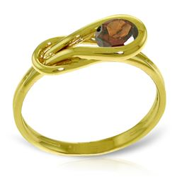 Genuine 0.65 ctw Garnet Ring Jewelry 14KT Yellow Gold - REF-47Z2N