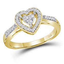 0.20 CTW Diamond Heart Ring 10KT Yellow Gold - REF-22W4K