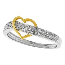0.15 CTW Diamond Heart Love Ring 10KT Two-tone Gold - REF-19W4K