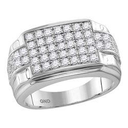 1.95 CTW Mens Diamond Rectangle Cluster Ring 10KT White Gold - REF-139M5H