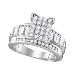 1 CTW Diamond Cinderella Cluster Bridal Ring 10KT White Gold - REF-65N8F