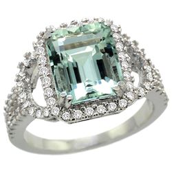 Natural 2.78 ctw aquamarine & Diamond Engagement Ring 14K White Gold - REF-116V5F