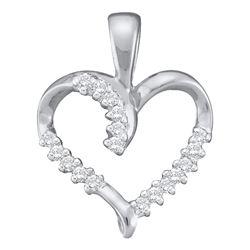 0.10 CTW Diamond Simple Heart Outline Pendant 10KT White Gold - REF-8K9W