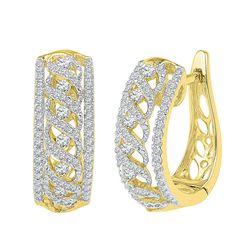 0.75 CTW Diamond Crisscrossed Openwork Hoop Earrings 10KT Yellow Gold - REF-59K9W