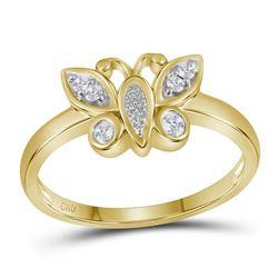 0.10 CTW Diamond Butterfly Bug Fashion Ring 10KT Yellow Gold - REF-19W4K