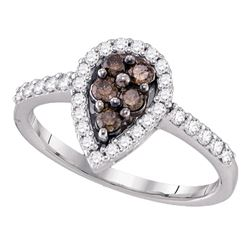 0.50 CTW Cognac-brown Color Diamond Cluster Ring 10KT White Gold - REF-30F2N