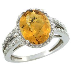 Natural 3.47 ctw Whisky-quartz & Diamond Engagement Ring 14K White Gold - REF-45V3F