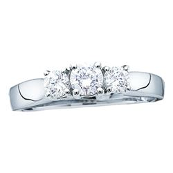 0.26 CTW 3-Stone Diamond Bridal Wedding Engagement Ring 14KT White Gold - REF-26H3M
