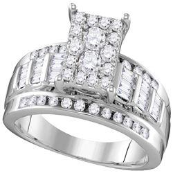 0.92 CTW Diamond Rectangle Cluster Bridal Engagement Ring 10KT White Gold - REF-70F4N