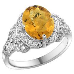 Natural 2.92 ctw quartz & Diamond Engagement Ring 14K White Gold - REF-101M5H