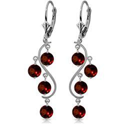 Genuine 4.95 ctw Garnet Earrings Jewelry 14KT White Gold - REF-53X8M