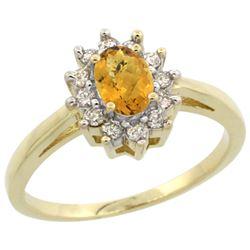 Natural 0.67 ctw Whisky-quartz & Diamond Engagement Ring 10K Yellow Gold - REF-38W6K