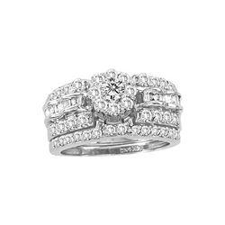 1.38 CTW Diamond Cluster Bridal Engagement Ring 14KT White Gold - REF-132N2F